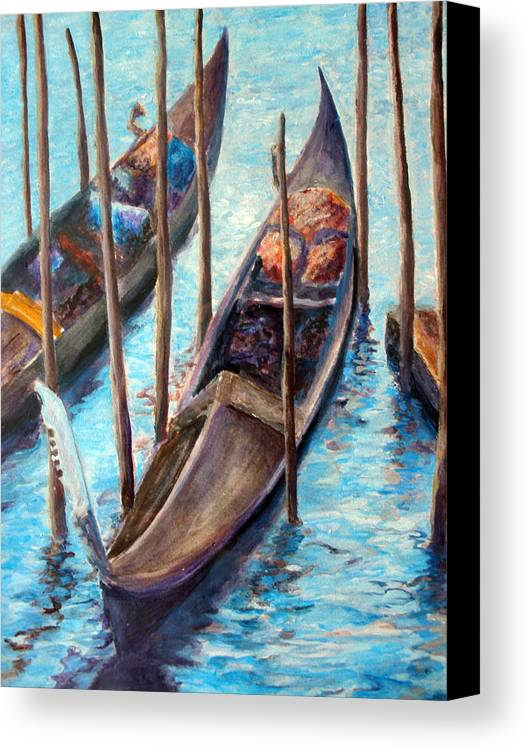 Gondola Canvas Print featuring the painting Gondolas by Mike Segura