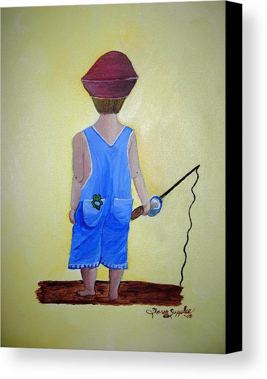 Fishing Canvas Print featuring the painting Gone Fishing 2 by Sharon Supplee
