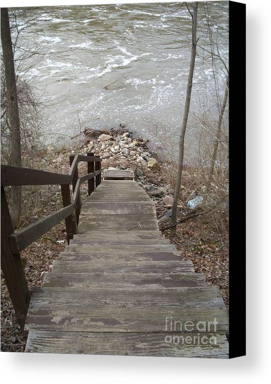 River Stairs Rocks Current Fishing Canvas Print featuring the photograph Gone Fishing by Kristine Nora