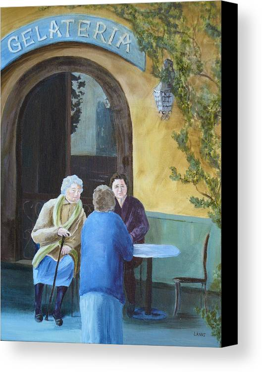 Italy Canvas Print featuring the painting Gossip Girls by Joe Lanni