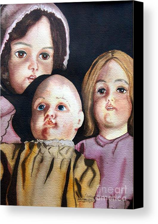 Old Dolls Canvas Print featuring the painting Grandma's Dolls by Gail Zavala