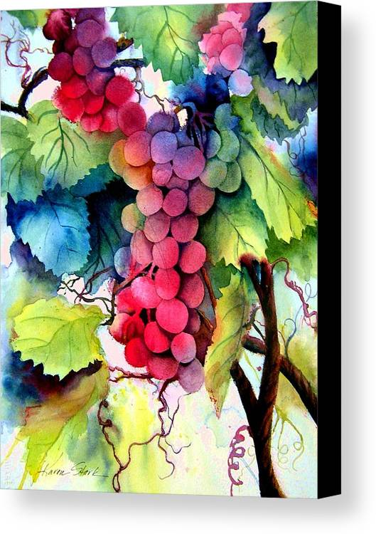 Grapes Canvas Print featuring the painting Grapes by Karen Stark