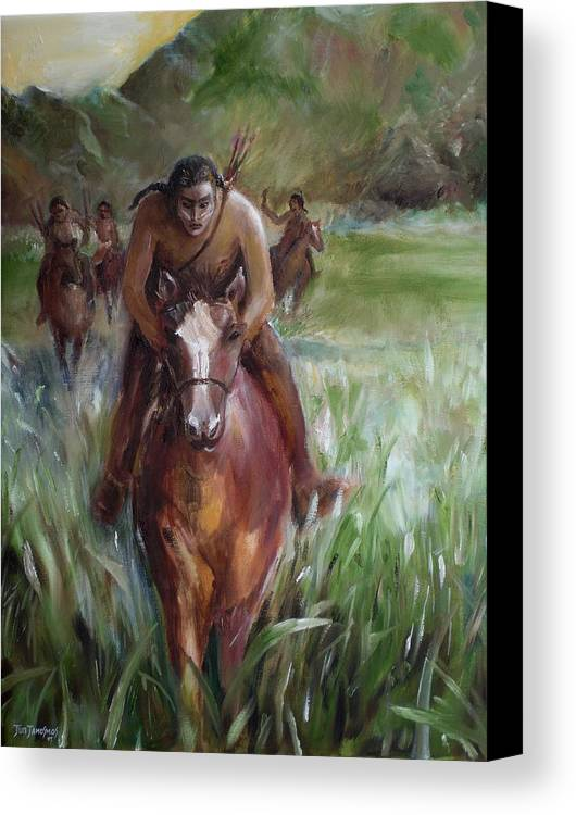 Horse Canvas Print featuring the painting Great Valley Run by Jun Jamosmos
