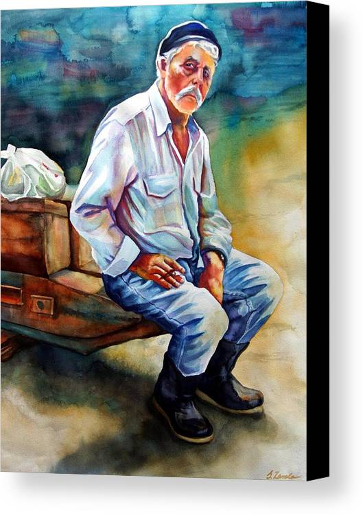 Portrait Canvas Print featuring the painting Greek Fisherman by Gail Zavala