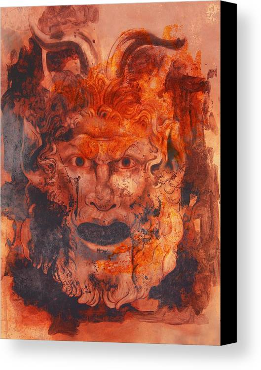 Drawing Canvas Print featuring the digital art Greek Mask 8 by Tom Durham