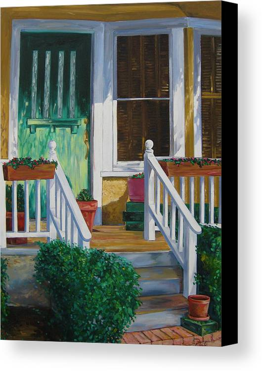 Green Canvas Print featuring the painting Green Door by Karen Doyle