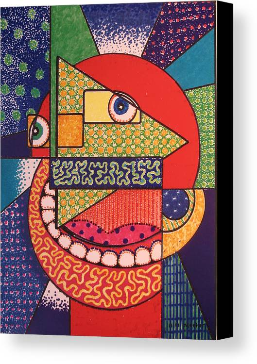 Cubism Canvas Print featuring the painting Grinning Redneck by Bill Meeker