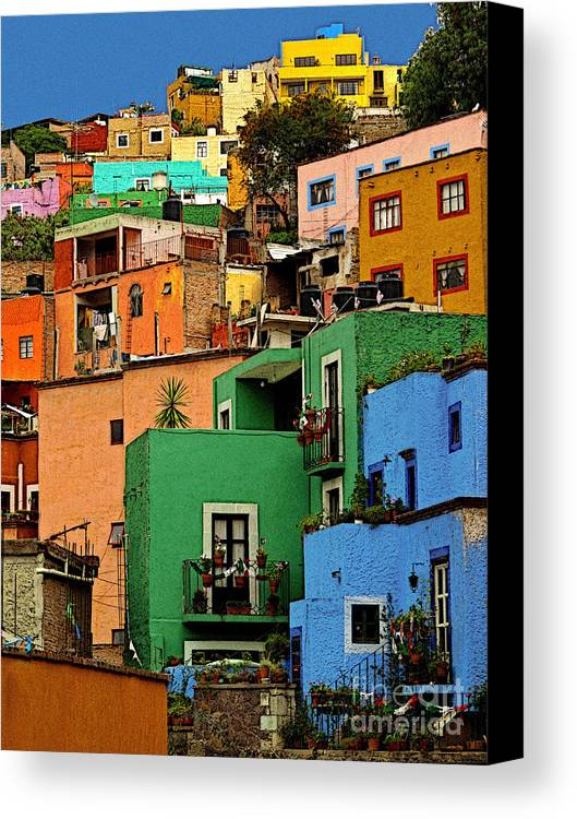 Darian Day Canvas Print featuring the photograph Guanajuato Hillside 2 by Mexicolors Art Photography