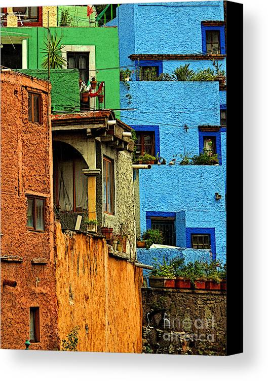 Darian Day Canvas Print featuring the photograph Guanajuato Hillside 3 by Mexicolors Art Photography