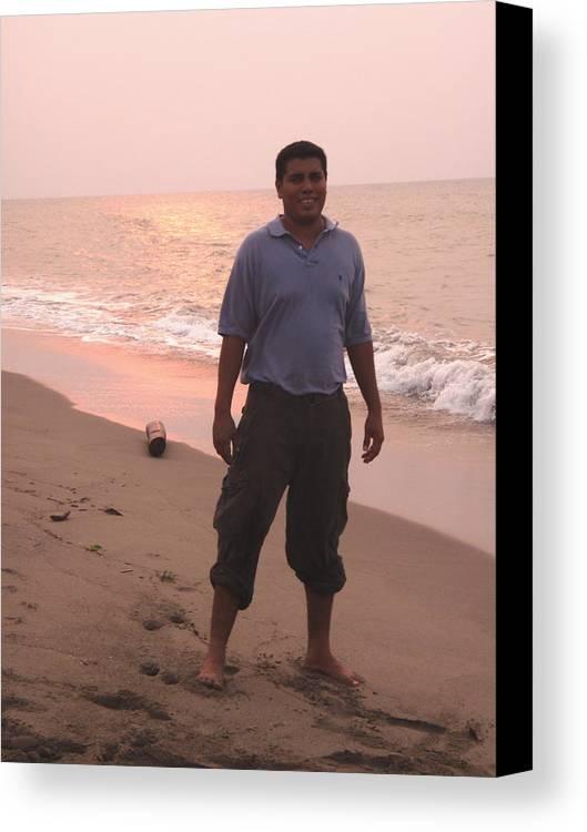 Portrait Canvas Print featuring the photograph Guy At La Playa by Samanta Munguia