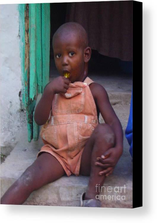 Haitian Boy Canvas Print featuring the photograph Haitian Boy by Kelly Statham
