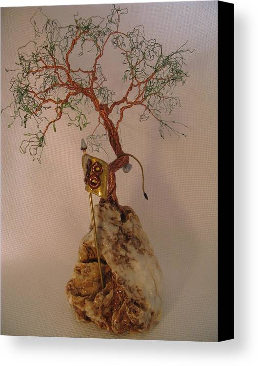 Metal Tree Canvas Print featuring the sculpture Hanging It Up by Judy Byington