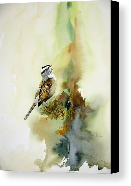 White-crowned Sparrow Canvas Print featuring the painting Happy Sparrow by Lynne Parker
