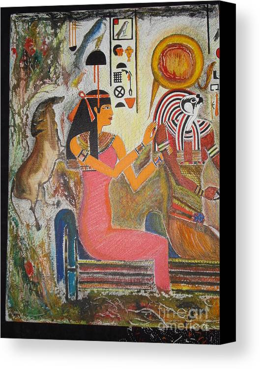 Hathor Canvas Print featuring the mixed media Hathor And Horus by Prasenjit Dhar