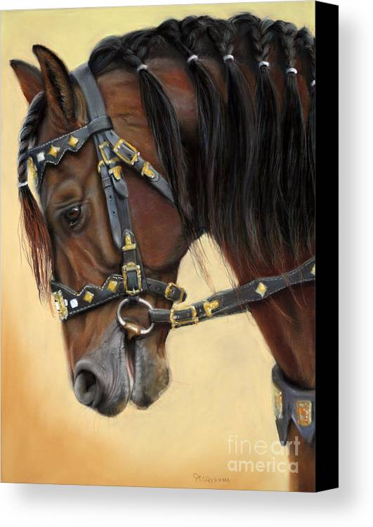 Horse Canvas Print featuring the painting Horse Portrait by Svetlana Ledneva-Schukina