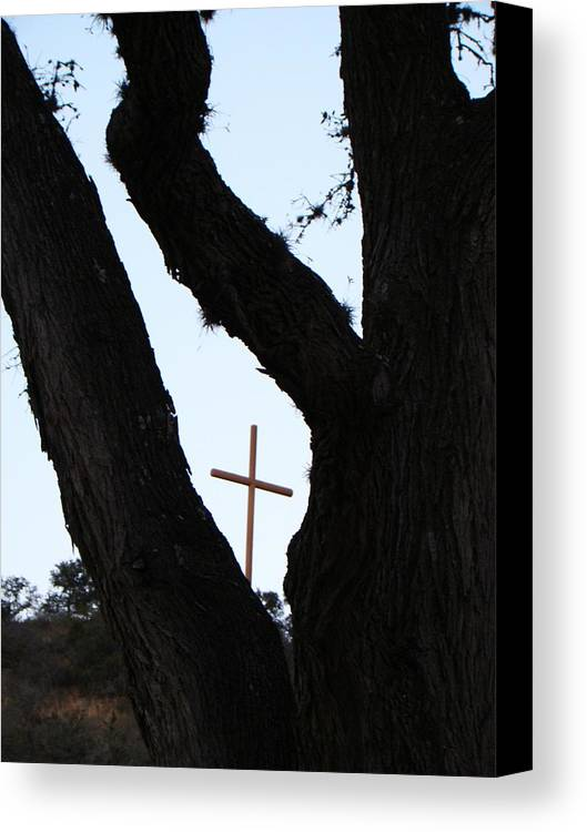 Cross Canvas Print featuring the photograph Hwy 87 Cross One by Ana Villaronga