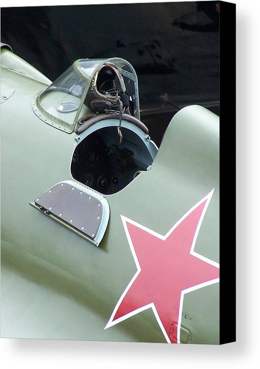 Ww2 Fighter Canvas Print featuring the photograph I-16 Rata Cockpit Door by Gene Ritchhart