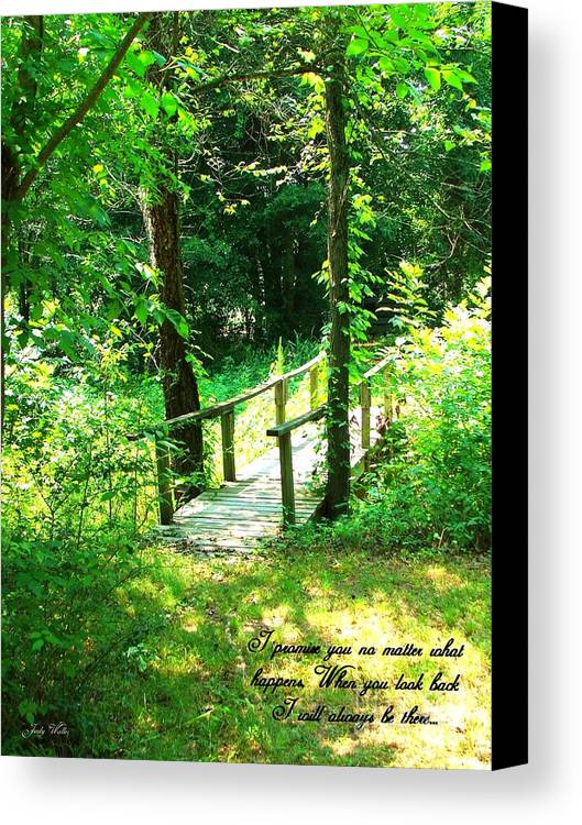 Woods Canvas Print featuring the photograph I Promise by Judy Waller