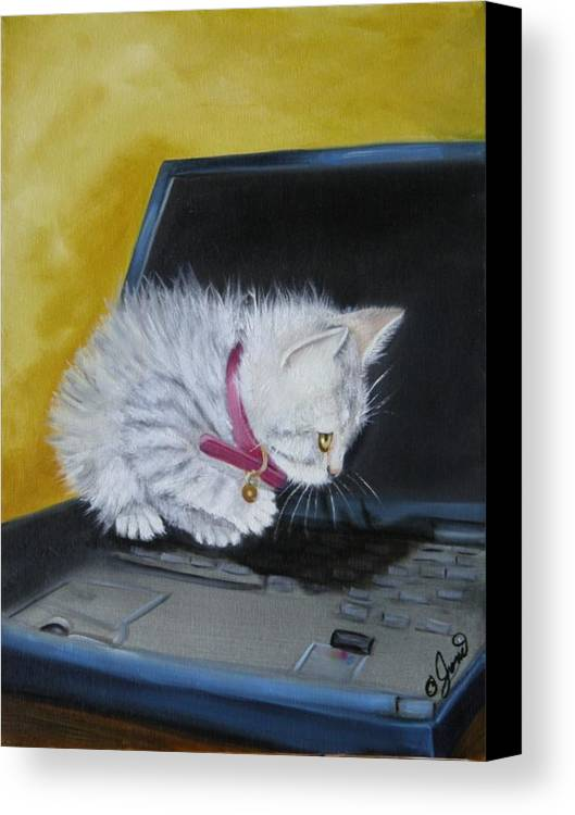 Pet Canvas Print featuring the painting I See A Mouse by Joni McPherson