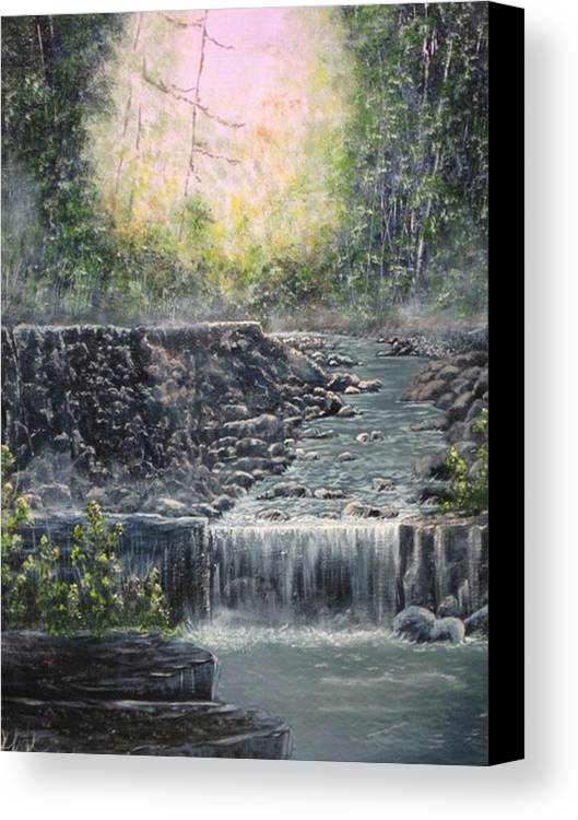 Landscape Canvas Print featuring the painting In The Beginning by Sheila Banga