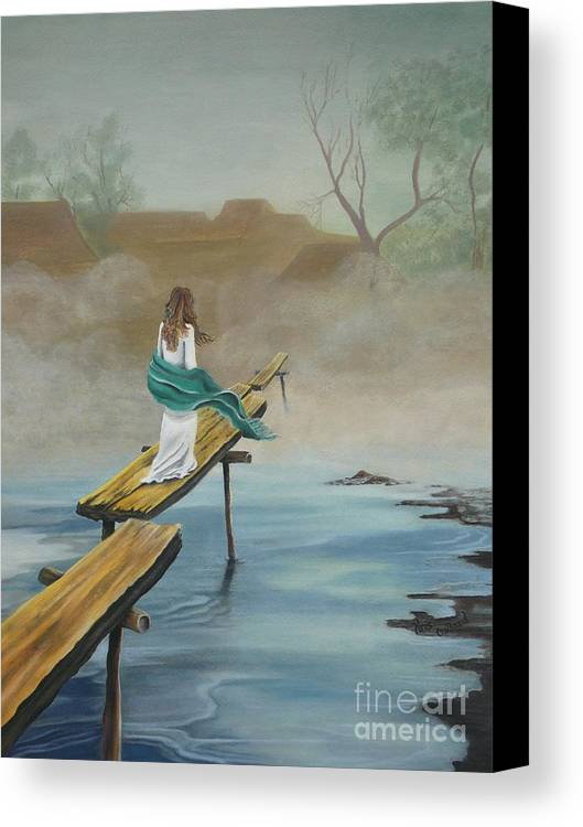 Water Canvas Print featuring the painting Into The Mist by Kris Crollard