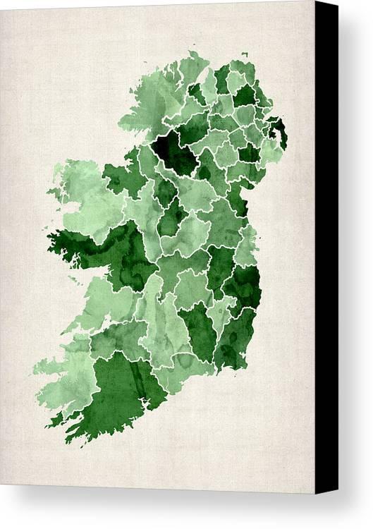 Ireland Map Canvas Print featuring the digital art Ireland Watercolor Map by Michael Tompsett