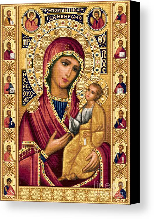 Theotokos Virgin Mary Bethlehem Orthodox Smiling Jesus Child Russian Needlework Canvas Print featuring the tapestry - textile Iveron Theotokos by Stoyanka Ivanova
