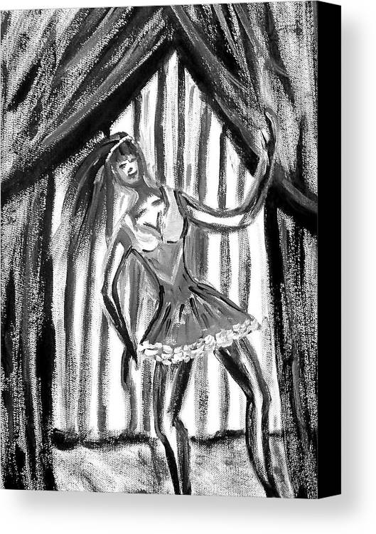 Dance Canvas Print featuring the painting Jazz Dancer In Black And White by BJ Abrams