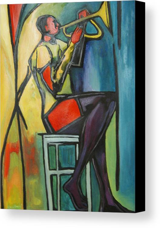 Abstract Canvas Print featuring the painting Jazz Trumpet Player by Angelo Thomas