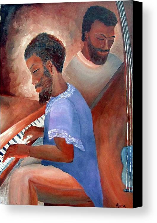 Portrait Canvas Print featuring the painting Jazzmen by Alima Newton