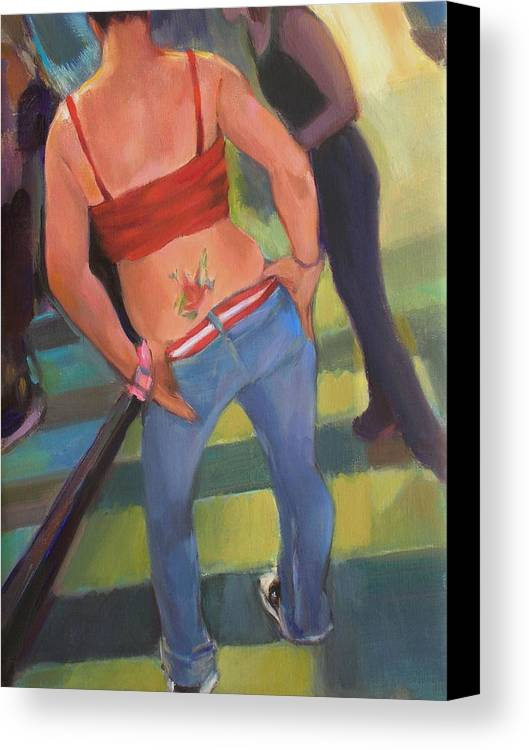 Tatoo Canvas Print featuring the painting Jen by Merle Keller