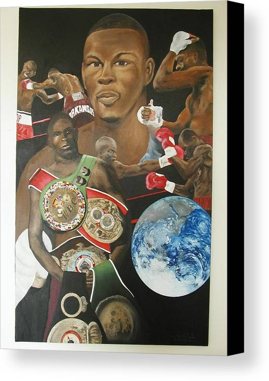 Portrait Canvas Print featuring the painting Jermain Taylor Montage by Angelo Thomas