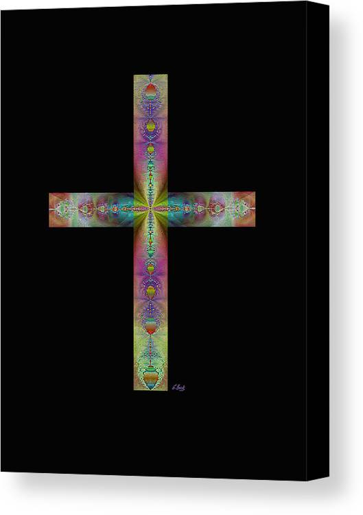 Christian Catholic Cross Impressionistic Gordon Beck Art Canvas Print featuring the digital art Jeweled Cross On Black by Gordon Beck