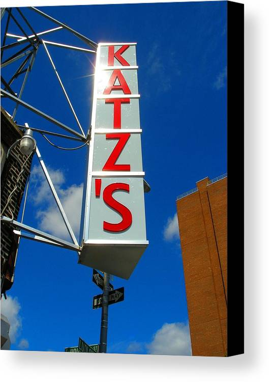 Art Canvas Print featuring the photograph Katz's Ny Deli Sign by Candace Garcia
