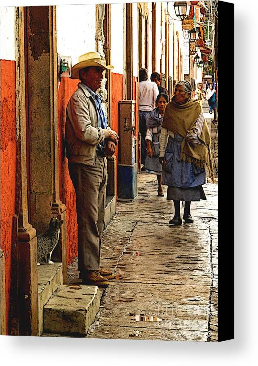 Mexicolors.com Canvas Print featuring the photograph Kitten In The Doorstep, Patzcuaro by Mexicolors Art Photography