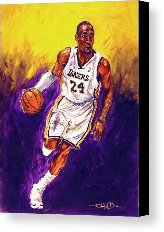 Kobe Bryant Canvas Print featuring the painting Kobe by Brian Child