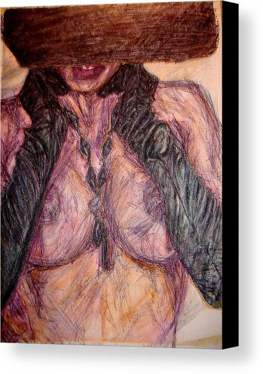 Sexy Canvas Print featuring the painting Ladyinhat01 - Watercolor And Ink by Donna Hanna