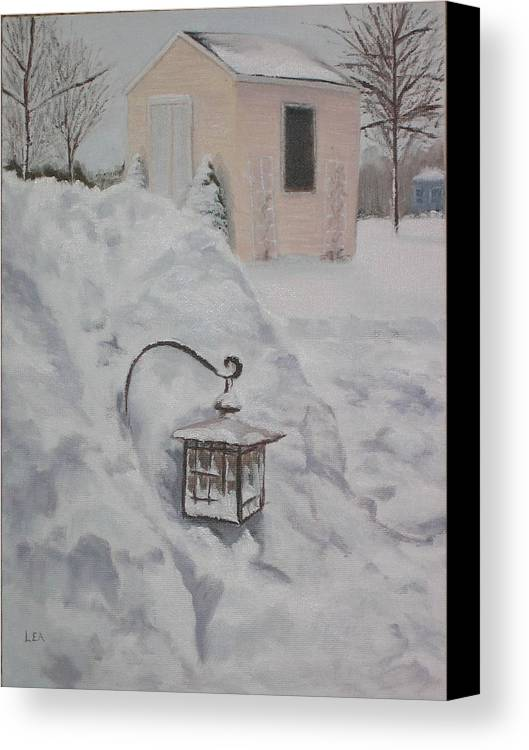 Snow Canvas Print featuring the painting Lantern In The Snow by Lea Novak