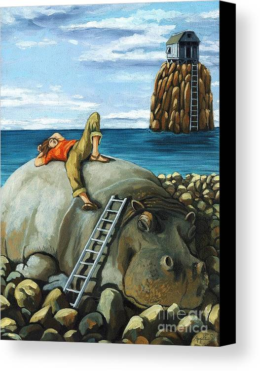 Surreal Canvas Print featuring the painting Lazy Days - Surreal Fantasy by Linda Apple
