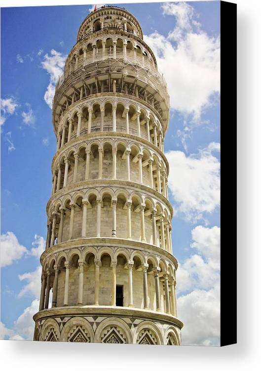 Vertical Canvas Print featuring the photograph Leaning Tower Of Pisa by Francesco Damin