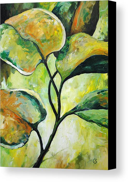 Leaves Canvas Print featuring the painting Leaves2 by Chris Steinken