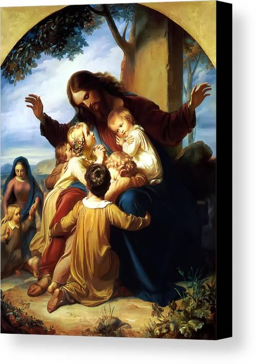 Let The Children Come To Me Print Canvas Print featuring the painting Let The Children Come To Me by Carl Vogel von Vogelstein