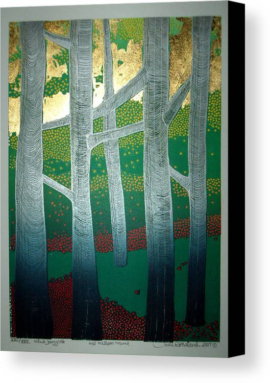 Landscape Canvas Print featuring the mixed media Light Between The Trees by Jarle Rosseland