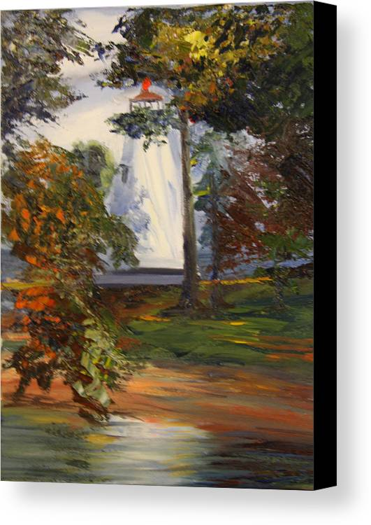 Lighthouse Canvas Print featuring the painting Lighthouse At Children by Jill Holt