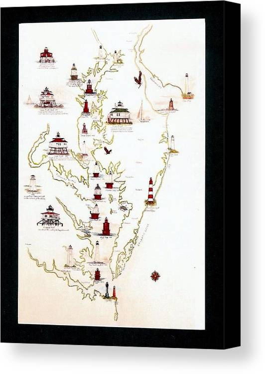 Chesapeake Bay Canvas Print featuring the digital art Lighthouses Of The Chesapeake Bay by Myrna McGrath