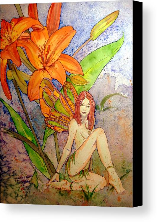 Faerie Canvas Print featuring the painting Lillian Keeper Of Both Wealth And Pride - Watercolor by Donna Hanna