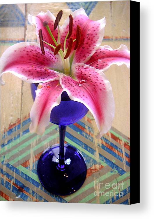Nature Canvas Print featuring the photograph Lily On A Painted Table by Lucyna A M Green