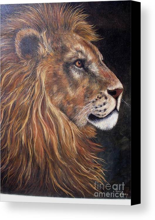 Lion Canvas Print featuring the painting Lions Portrait by Pamela Squires