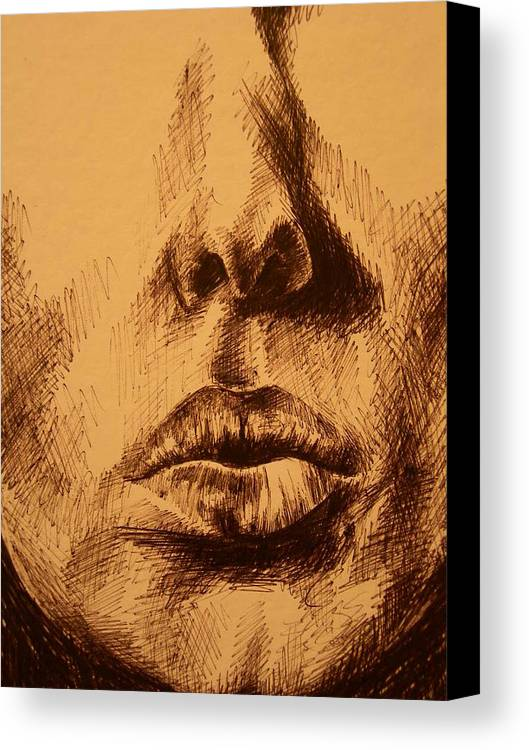 Portrait Canvas Print featuring the drawing Lips Are Beautiful by J Oriel
