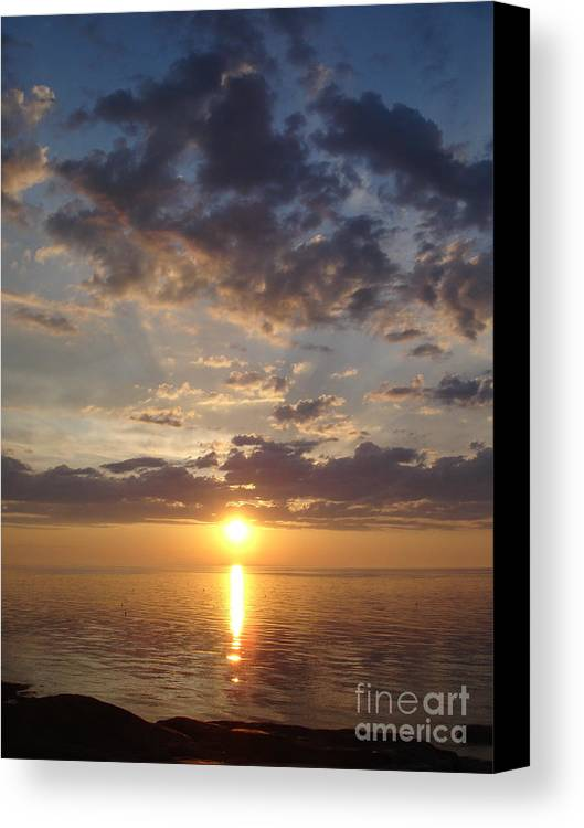 Sunset Canvas Print featuring the photograph Lit Bay by Chad Natti